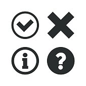 Information icons. Delete and question FAQ mark signs. Approved check mark symbol. Flat icons on white. Vector