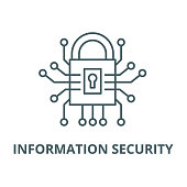 Information security vector line icon, outline concept, linear sign
