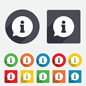 Information sign icon. Info speech bubble symbol. Circles and rounded squares 12 buttons. Vector
