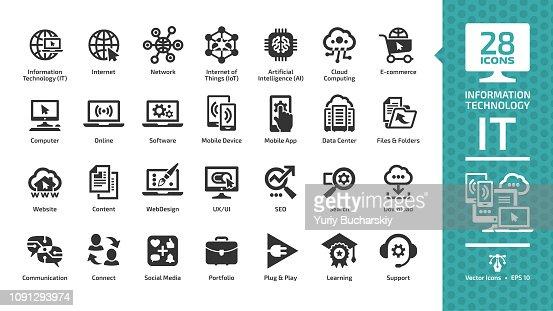Conjunto de icono de glifo información tecnología con él red sistema global internet, centro de datos, comunicación, sitio web, medios sociales, negocio de seo, e-commerce, soporte, ordenador y dispositivo móvil firman. : arte vectorial