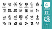 Information technology glyph icon set with IT network system, global internet, data center, communication, web site, social media, seo business, e-commerce, support, computer and mobile device sign.