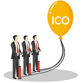 Initial coin offering concept vector illustration. Businessmen blowing balloon with ICO lettering.