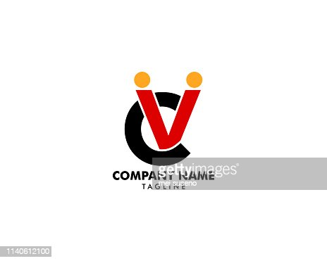 Initial letter CV human abstract logo vector icon : stock vector