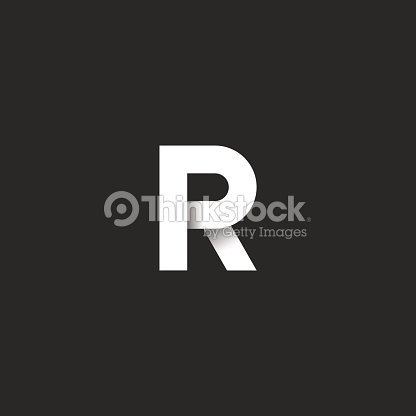 Initial Letter R Bold Font White Gradient Ribbon Linear Style Material Design Element Idea