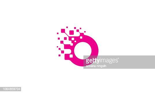 initial O logo icon vector technology : stock vector
