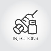 Injection icon drawing in outline style. Contour syringe sign with needle and medication. Medical symbol, vaccination, treatment concept. Web button or symbol for websites and mobile apps. Vector