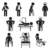 Injured people icon set. Vector. eps10.