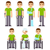 Injury and trauma cartoon man set. Character with crutches and cast, bandages and wheelchair. Hospital and rehabilitation vector illustration.