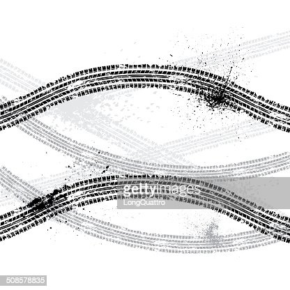 Ink blots tire track : Vector Art