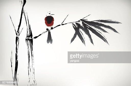 Tinte Painted Bambus Vektorgrafik Thinkstock