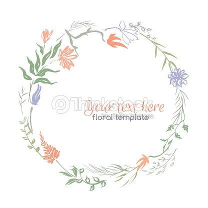 encre peint la main couronne de fleurs clipart vectoriel