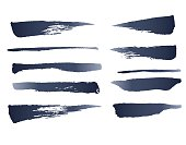 Set Of Photo Realistic Vector Brushes. Ink Strokes Isolated On White