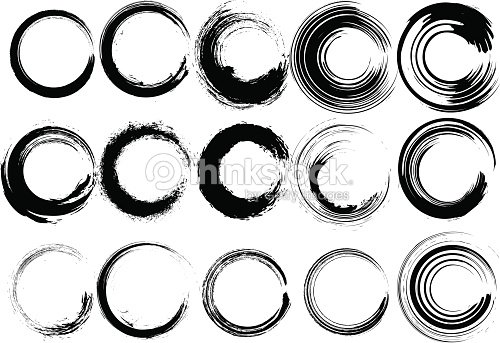 Inked Circle Brush Set Vector Art Thinkstock