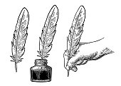 Inkwell and female hand holding a goose feather. Vector black vintage engraving illustration for poster, label, banner, web. Isolated on white background