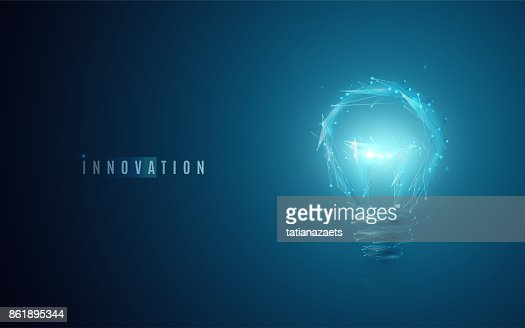 Innovation concept. Lightbulb in modern polygonal style with light effect : Vector Art