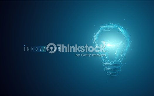 Innovation concept. Lightbulb in modern polygonal style with light effect : stock vector