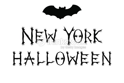 Inscription New York Halloween With Bat Silhouettes Concept