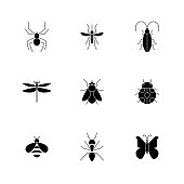 Insect icons pack. Isolated insect symbols collection. Graphic icons element