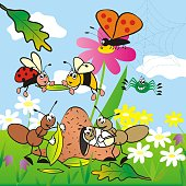 Insect, cute banner for children. Group of animals on the meadow. Ant family, butterfly, spider, wasp and ladybug and different flowers on the meadow.