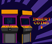 Insert coins to play arcade over striped background vector illustration graphic concept