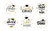 Inspiration and motivation graduation party quotes. Congrats grad, class of 2019. Lettering for congratulation ceremony, invitation card, banner. College, school, academy symbols such as tassel, cap,