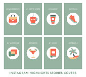 The great beautiful icons for social network highlights covers. Icons on a beautiful gradient background. Vector design illustration.