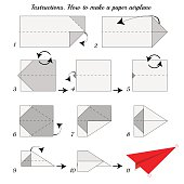 Instructions how to make paper Airplane. Paper plane tutorial step by step. Vector airplane. Educational game for kids. Visual game. Airplane Paper plane on isolated background