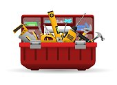 Tool box. Vector instrument toolbox with tools kit for home repair isolated on white background