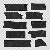 Insulating adhesive sticky black tape, realistic style set. Strip of sticky material, electrical insulation tape. Vector illustration