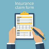 Insurance claim form. Man writes form, holding clipboard in hand. Vector illustration flat design.