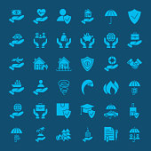 Insurance Solid Web Icons. Vector Set of Glyphs.