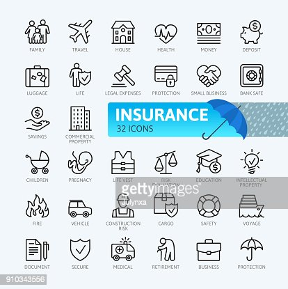 Insurance - thin line  icons collection : Arte vettoriale