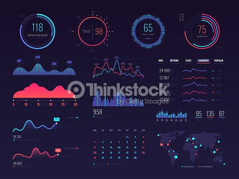 Intelligent technology hud vector interface. Network management data screen with charts and diagrams : stock vector