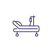 Intensive care unit line icon. Resuscitation, rehabilitation, hospital ward. Medicine concept. Vector illustration can be used for topics like healthcare, hospital, medical care