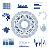 HUD Interface Futuristic Thin Line Graphic Background Card Digital Technology Science Data Display or Panel Concept. Vector illustration