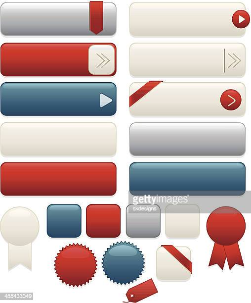 Interface Icons, Labels, Ribbons, Stickers Set: White, Blue, Red, Silver