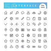 Set of 56 interface line icons suitable for web, infographics and apps. Isolated on white background. Clipping paths included.