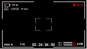 Interface viewfinder digital camera settings on a black background. Vector illustration.