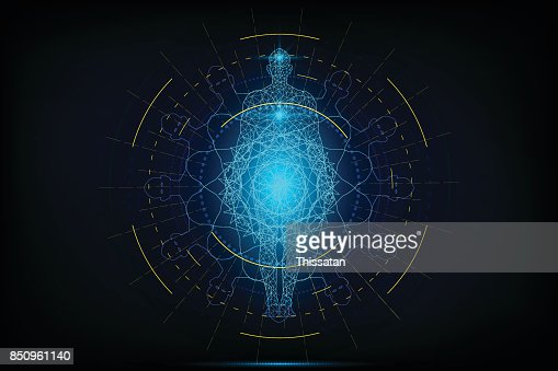 HUD interface virtual human body polygonal on circular anatomical future system health innovation and technology concept background, vector illustration. : stock vector