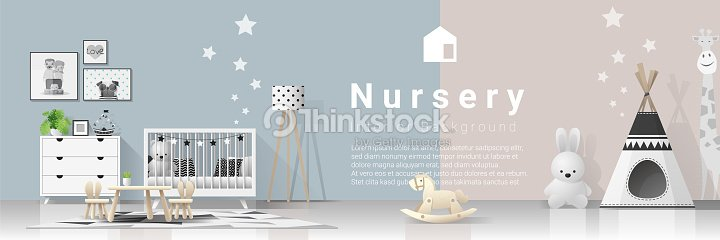 Interior Background With Modern Baby Bedroom Vector Illustration