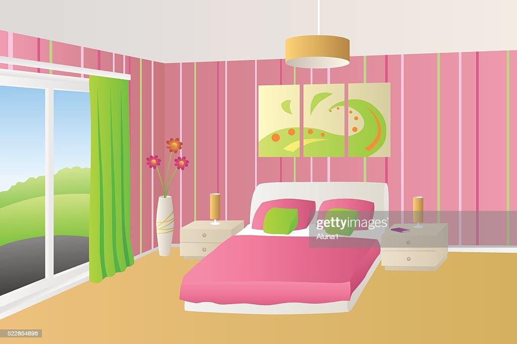 Camera Da Letto Verde E Rosa : Interno camera da letto beige verde e rosa lampade finestra