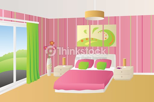 Interior Bedroom Beige Pink Green Bed Pillows Lamps Window Vector Art