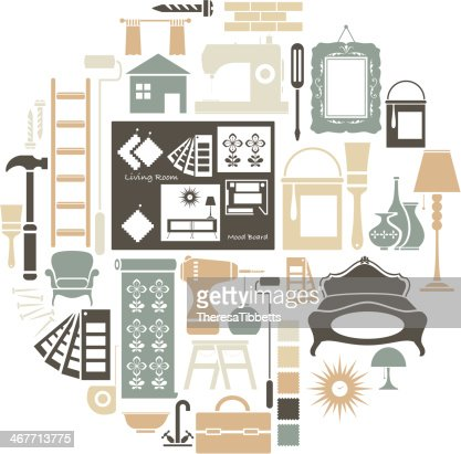 Interior Design Icon Set Vector Art | Getty Images