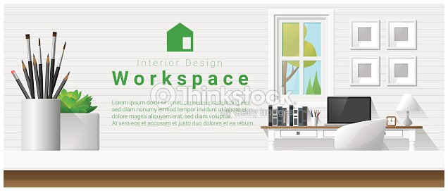 Interior Design With Table Top And Modern Office Workplace
