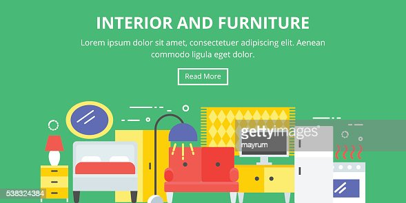 Interior Furniture Home Decor Flat Style Banner Vector Art Thinkstock