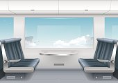 Interior high-speed train or a boat with a passenger compartment and the scenery outside the window. Vector graphics