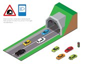 Interior of an urban walkway tunnel road. Tunnel car driving. Isometric Tunnel road flat vector illustration