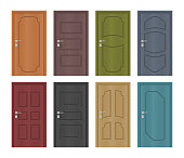 Interior of colored entrance doors, vector set