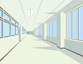 Interior of school hall or corridor in flat style for your artwork or design.