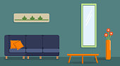 Interior of the living room. Design of a cozy room with sofa, coffee table and decor accessories - mirror, vase, paintings. Vector image in flat style